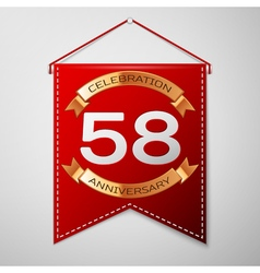 Red pennant with inscription fifty eight years vector