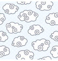 Seamless pattern with funny clouds on dotted light vector image