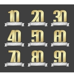 set of anniversary golden signs vector image