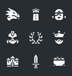 set of dragon story icons vector image