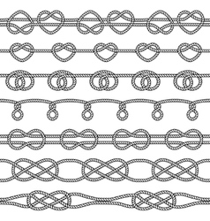 Set of rope knots Decorative seamless elements vector image