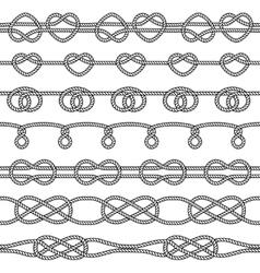 set rope knots decorative seamless elements vector image