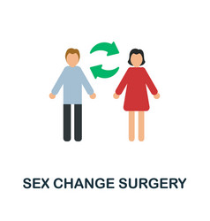Sex change surgery flat icon colored sign from vector