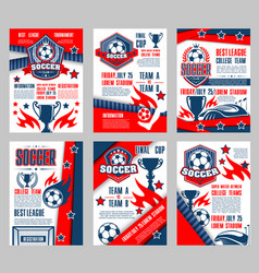 Soccer sport club poster for football match design vector