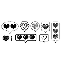 social media vintage heart like comment icons set vector image