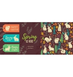 spring is here set easter tags and seamless vector image