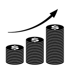 stack of coins icon growth concept in flat style vector image