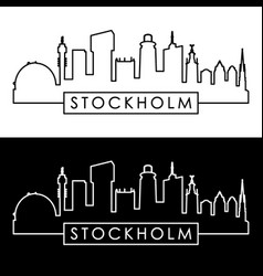 stockholm skyline linear style editable file vector image