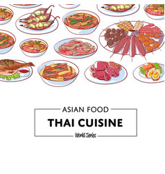 thai cuisine poster with asian dishes vector image