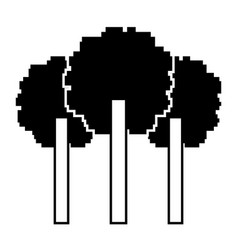 Three pixelated tree nature environment icon vector
