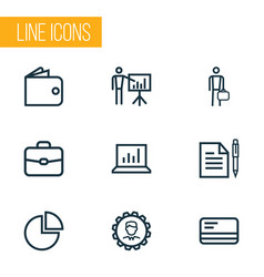 trade outline icons set collection of statistics vector image