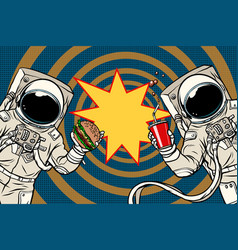 Two astronauts are eating lunch fast food vector