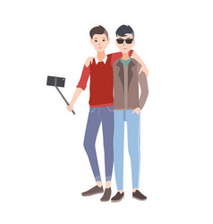 two young men dressed in stylish clothing standing vector image