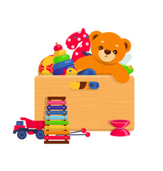 wooden box full of kids toys vector image