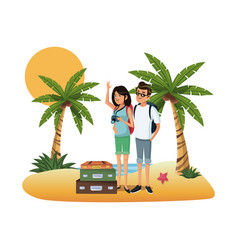 young couple at beach vector image