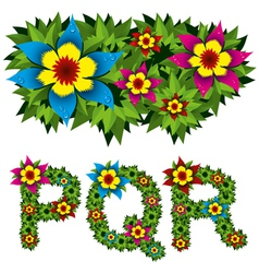 flowers alphabet 06 vector image