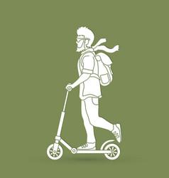 Hipster man riding kick scooter vector