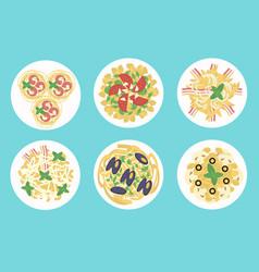 Italian pasta and spaghetti meals set vector