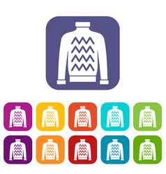 men sweater icons set vector image vector image