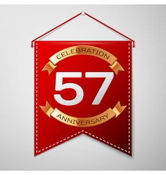 Red pennant with inscription fifty seven years vector