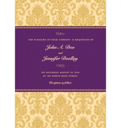 royal purple damask frame vector image vector image