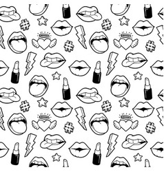 seamless pattern with fashion patches vector image vector image