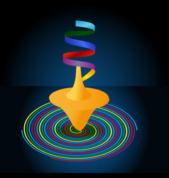 Whirligig and multi-colored pinwheel spiral on a vector