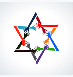 people hands in a david star vector image