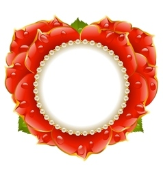 red Rose heart frame vector image vector image