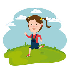 happy girl running in the field vector image