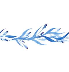 indigo blue hand drawn seamless border vector image vector image