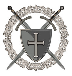knight design two crossed knight of the sword in vector image