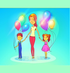 mother or woman with daughter and son vector image vector image