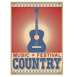music festival background with guitar isolated on vector image