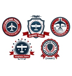 Retro flight emblem logo label set vector image vector image