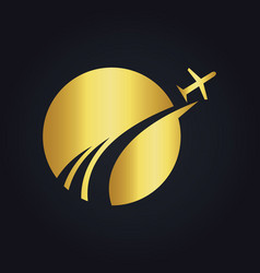 travel globe abstract plane gold logo vector image vector image