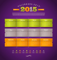 Calendar of 2015 year with holidays vector image