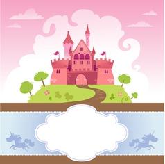 Card With Cartoon Castle vector image