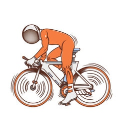 Isolated cartoon astronaut futuristic bicycle race vector image vector image