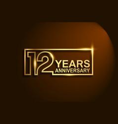 12 years anniversary golden design line style vector