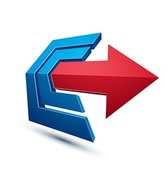 3d abstract symbol with an arrow Business strategy vector image