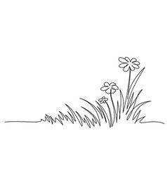abstract meadow line with grass and flowers vector image