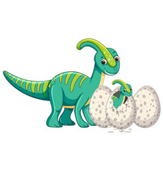 Adult dinosaur and baby dinosaur hatching egg vector