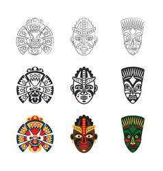 african mask icons set vector image