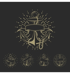 Anchor maritime sailor tattoo set or vintage vector