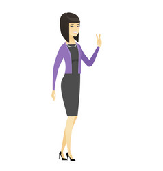 Asian business woman showing victory gesture vector