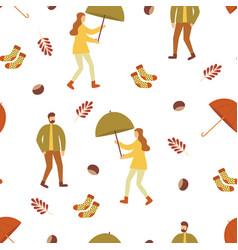 Autumn pattern people and umbrella vector