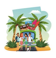 Beach and friends cartoons vector