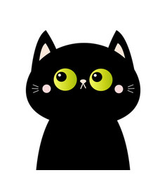 Black cat head face silhouette green eyes pink vector