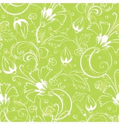 Bright green floral seamless pattern vector